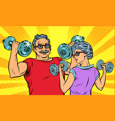 an elderly man and woman grandma grandpa retired vector image