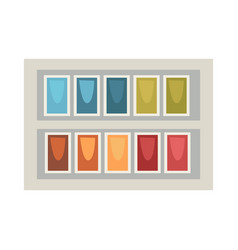 Art palette in rectangular box isolated on white vector