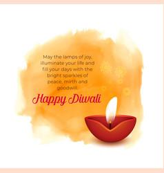 Artistic diwali background with diya and orange vector