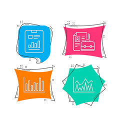 Bar diagram report document and vacancy icons vector