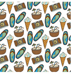 Beach doodle seamless pattern with cocktail ice vector