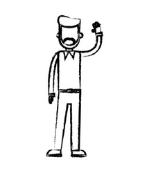 Beard man standing with arm up sketch vector