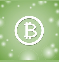 Bitcoin white icon on green background bit coin vector