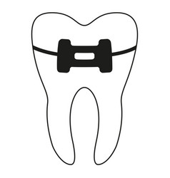 Black and white healthy tooth in brace silhouette vector