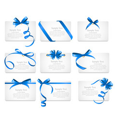 Card with Blue Ribbon and Bow Set vector image