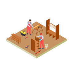 Carpenters workshop isometric woodworkers vector