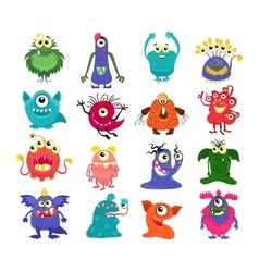 Cartoon cute monsters set vector image