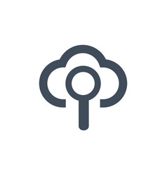 cloud search magnifying glass icon isolated vector image