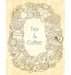 Coffee and Tea Sketch Doodles Pattern vector image