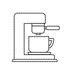 Coffee maker with porcelain cup filter machine vector