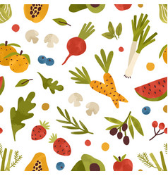 colorful seamless pattern with healthy fruits vector image