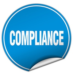 Compliance round blue sticker isolated on white vector