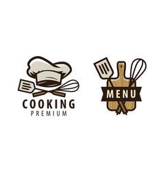 cooking cuisine logo or label menu design vector image