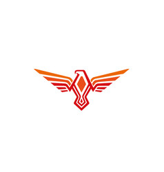 creative orange phoenix logo vector image