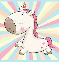 cute cartoon unicorn on a colored background vector image