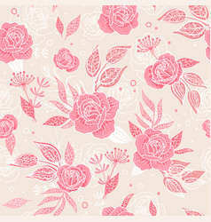 Cute hand drawn floral seamless pattern roses and vector