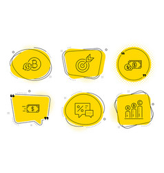 discounts target and dollar money icons set vector image