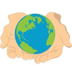 earth in hands vector image vector image