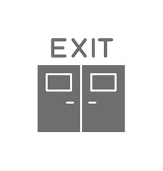 Emergency exit door line icon isolated on white vector
