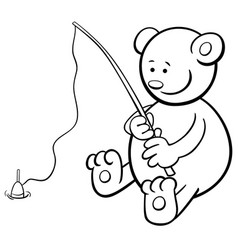 Fishing bear coloring book vector