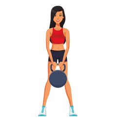 Fitness woman lifting kettlebell vector