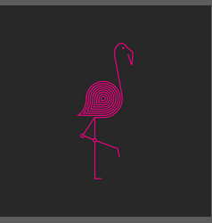 flamingo logo monogram pink thin lines vector image