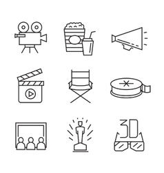 Flat movie icons vector