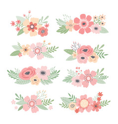 flower bouquets colorful spring vector image