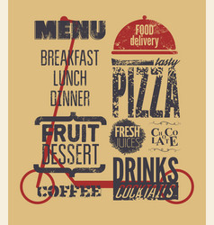 Food delivery service typographical grunge poster vector