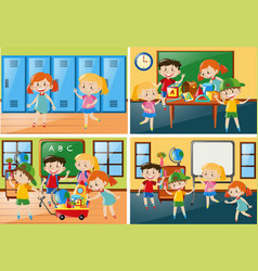 Four scenes with students at school vector
