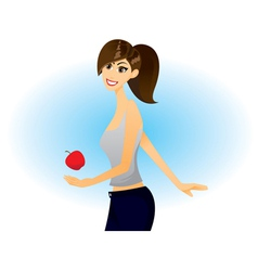 girl apple vector image