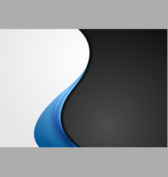 Grey black abstract background with blue wave vector