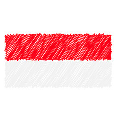 hand drawn national flag of indonesia isolated on vector image