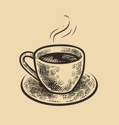 hand-drawn sketch cup coffee vintage vector image
