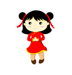 Happy cute chinese girl graphic vector
