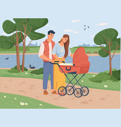happy parents walking with newborn toddler in park vector image