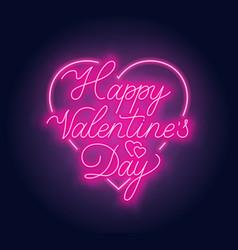 happy valentine s day neon lettering on dark vector image