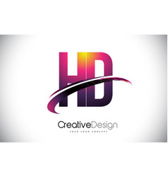 Hd h d purple letter logo with swoosh design vector