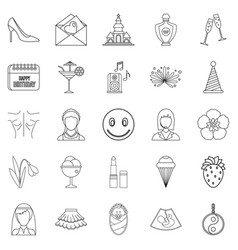 high spirits icons set outline style vector image