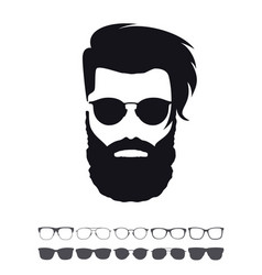 Hipster fashion set bearded face avatar vector