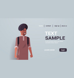 indian man with backpack wearing traditional vector image
