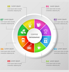 infographic design template with coffee icons vector image
