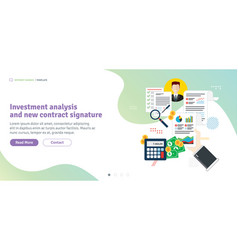 investment analysis and new contract signature vector image