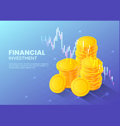 isometric web banner golden money coin with stock vector image