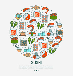 japanese food concept in circle vector image