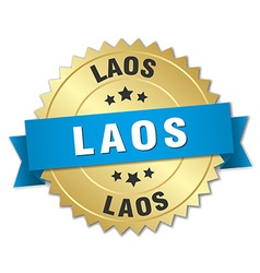 Laos round golden badge with blue ribbon vector