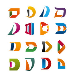 letter d icon for corporate identity vector image