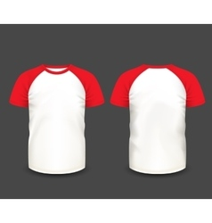 Mens raglan t-shirt in front and back views vector