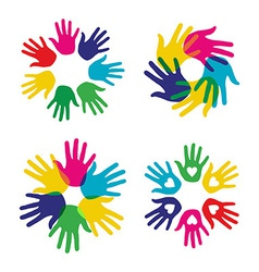 Multicolor diversity hands set vector