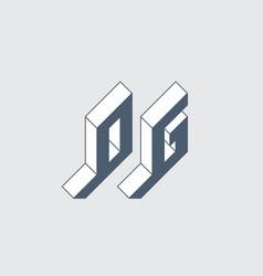 og - 2-letter code isometric 3d font for design 0 vector image
